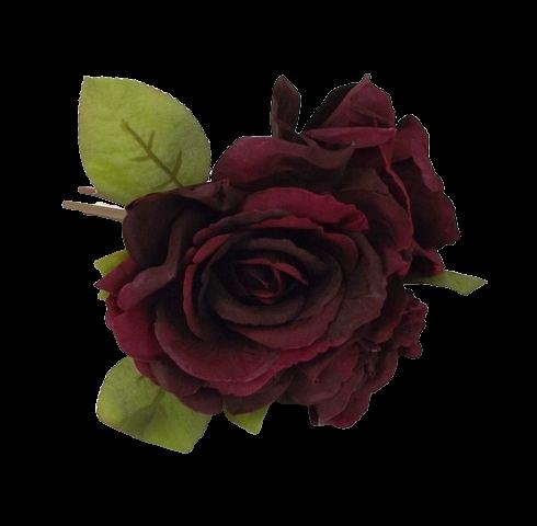 24cm Open Rose Posy x 3 Heads Bordeaux