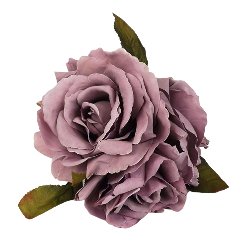 24cm Open Rose Posy x 3 Heads Grey