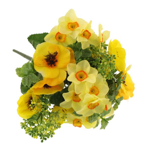 32cm Pansy & Narcissus Bouquet Yellow