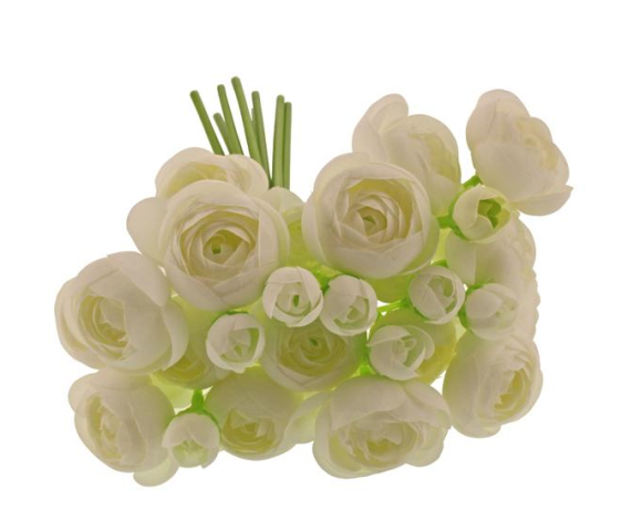 28cm Ranunculus Bundle White