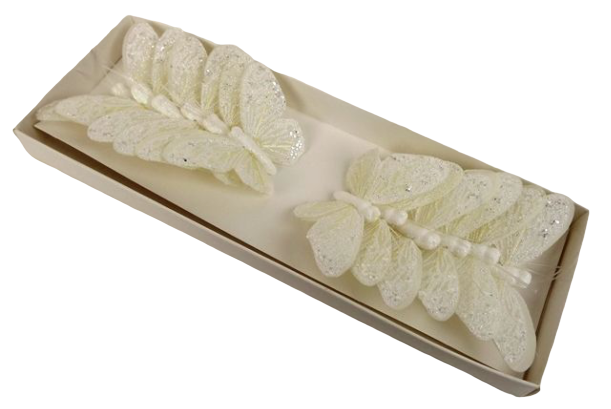7cm Pastel Sparkle Feather Butterflies x 12pcs Cream