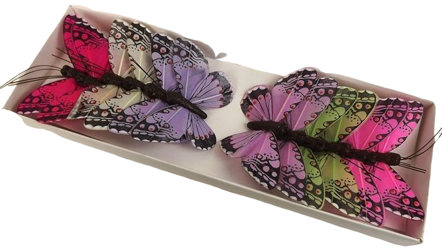 7cm Jewel Tone Feather Butterflies Assorted x 12pcs