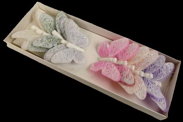 7cm Pastel Sparkle Feather Butterflies Assorted x 12pcs