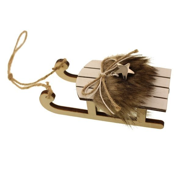 12cm Wooden Hanging Sleigh Natural