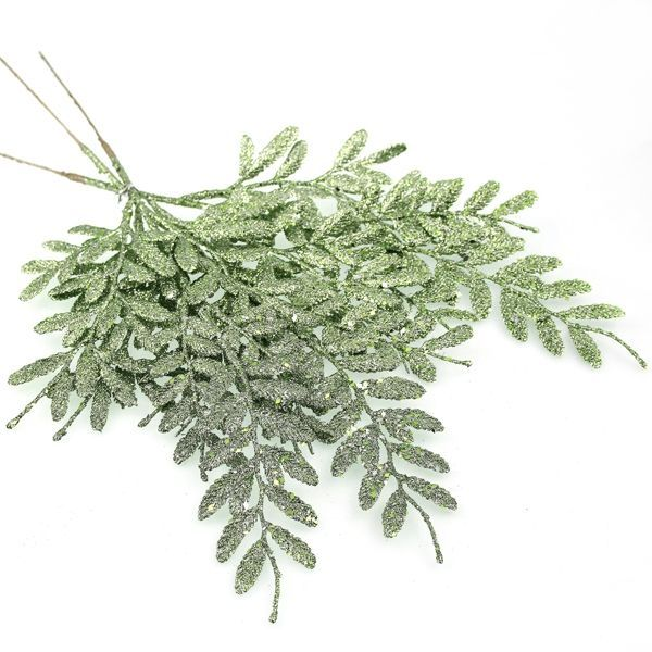 40cm Berberis Spray Glittered Green