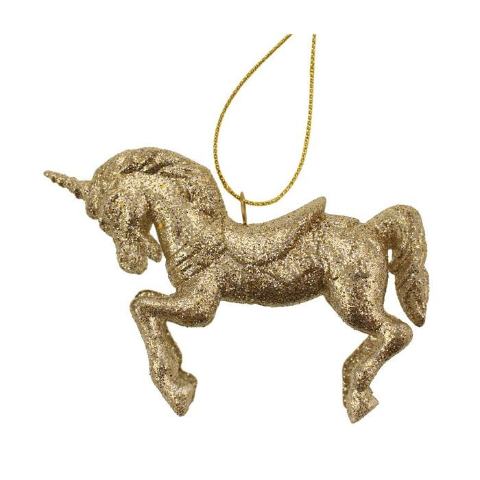 10cm Hanging Glittered Unicorn Champagne