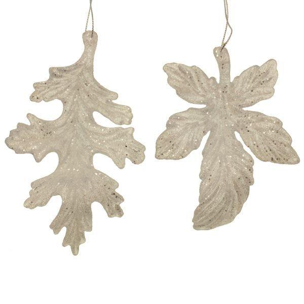 12cm Hanging Glittered Leaf White