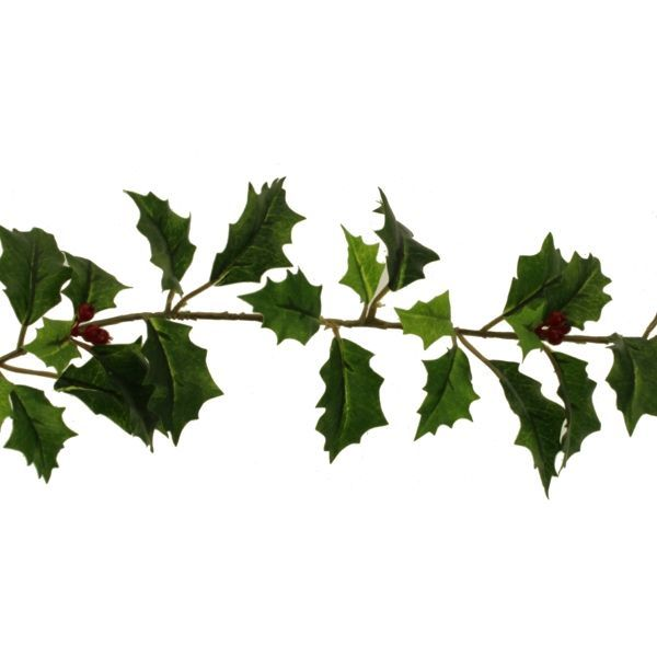 180cm Holly and Berry Garland Green