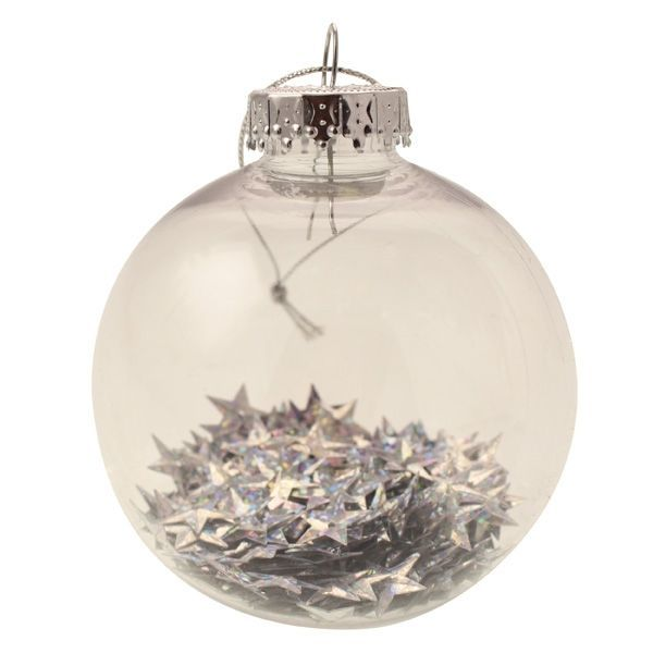 8cm Star Filled Bauble Silver