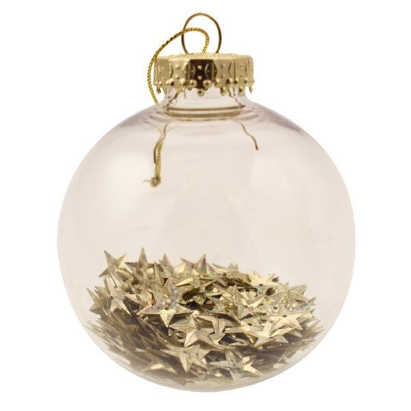 8cm Star Filled Bauble Champagne