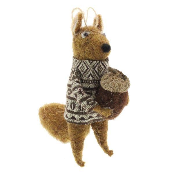 11cm Felt Squirrel with Acorn Brown