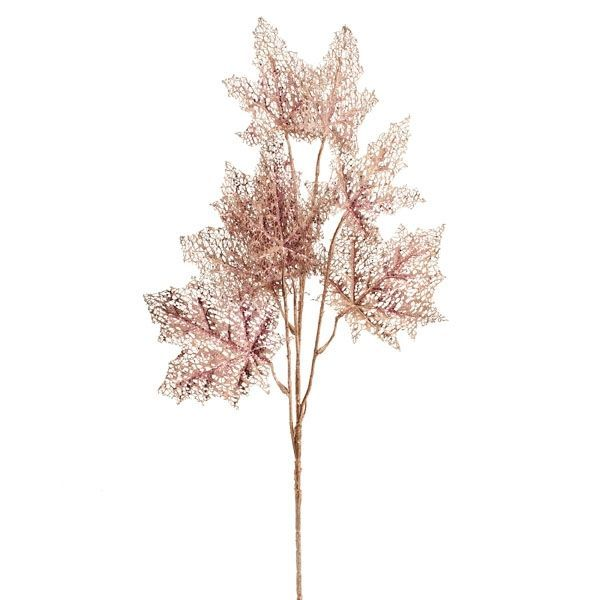 87cm Glittered Maple Spray Rose Gold