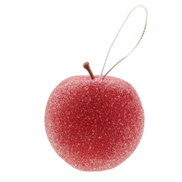 7cm Hanging Sugared Apple Red