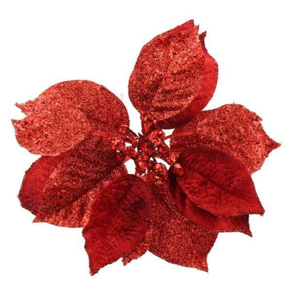 18cm Glittered Poinsettia Head Red