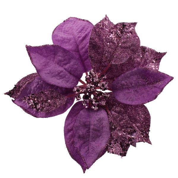 18cm Glittered Poinsettia Head Purple
