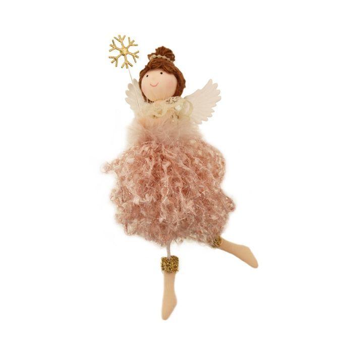 18cm Fabric Angel Hanger Pink