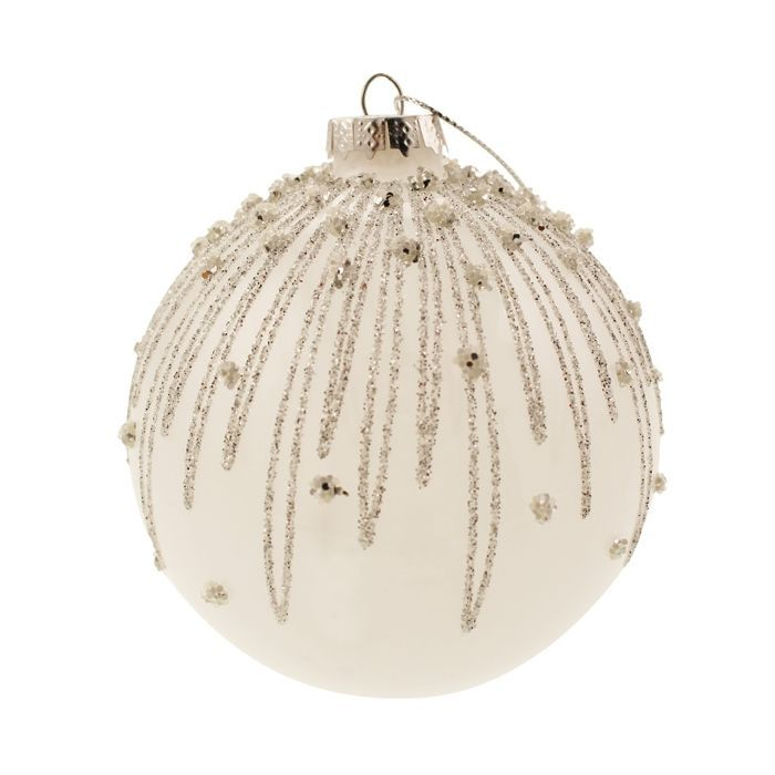 10cm Glitter Dripped Bauble White