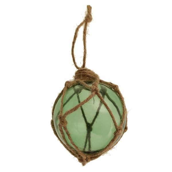 8cm Glass Hanging Rope Bauble Green