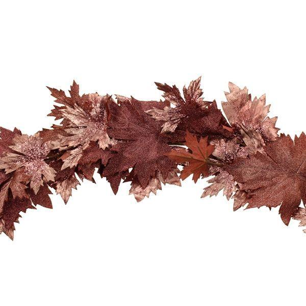 180cm Glittered Maple Garland Pink