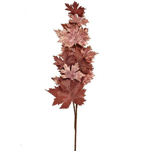 100cm Glittered Maple Spray Pink
