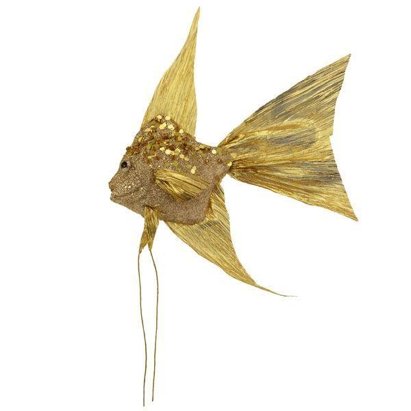 24cm Sequin Angel Fish Gold