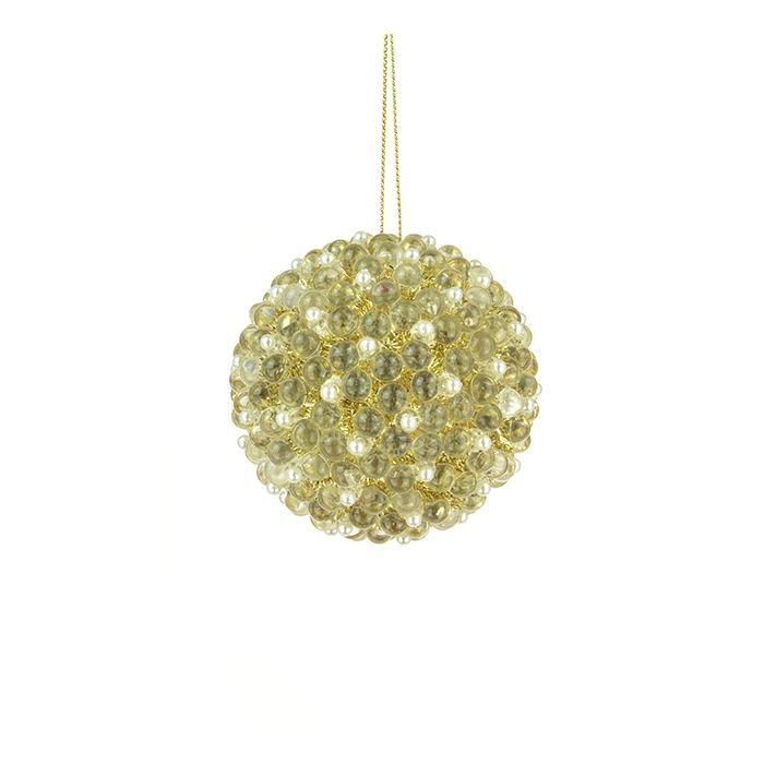 Clear Beaded Ball Ornament 8cm