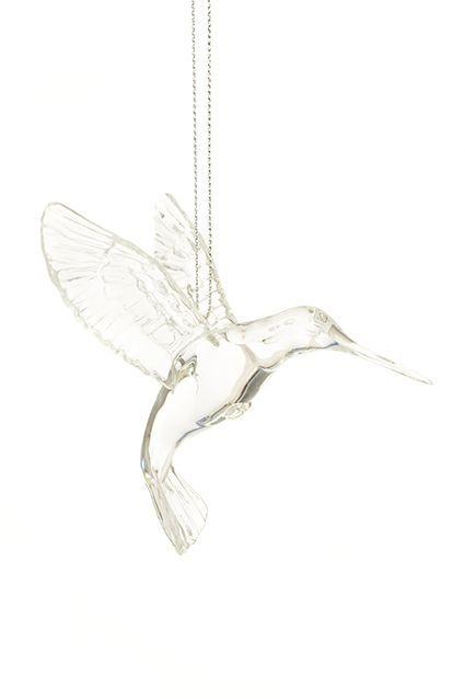 Clear Hummingbird Ornament 10cm