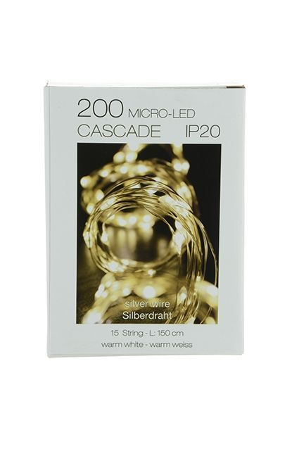 200 Micro LED Cascade x 15 Strings Indoor Use