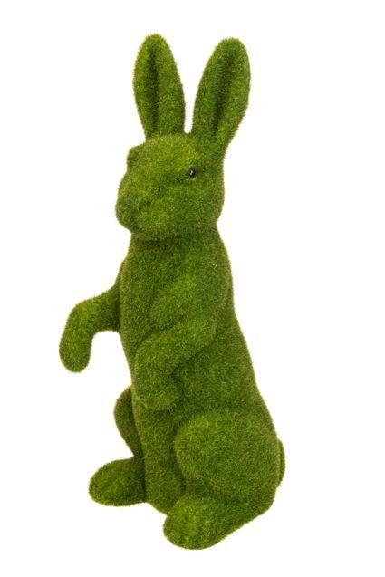 Flocked Standing Rabbit - 46cm Moss