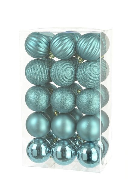 6cm Shatterproof Baubles x 30 Blue - See Additional Info