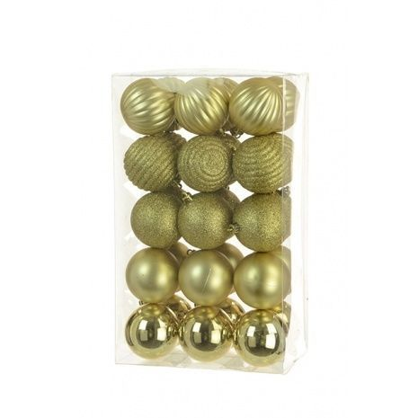 6cm Shatterproof Baubles x 30 Gold - See Additional Info