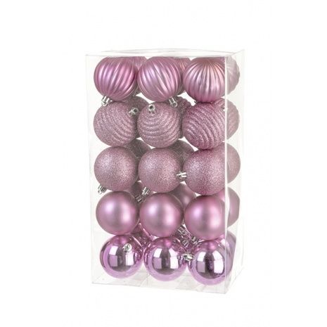 6cm Shatterproof Baubles x 30 Rose - See Additional Info