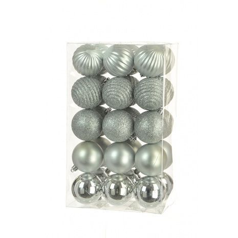 6cm Shatterproof Baubles x 30 Silver - See Additional Info