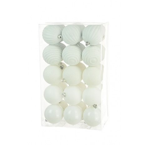 6cm Shatterproof Baubles x 30 White - See Additional Info