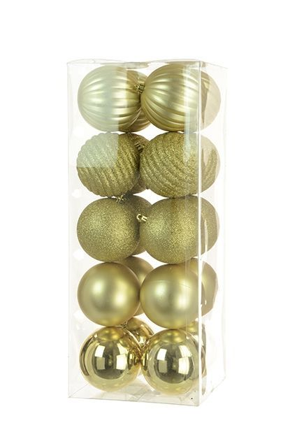 8cm Shatterproof Baubles x 20 Gold - See Additional Info