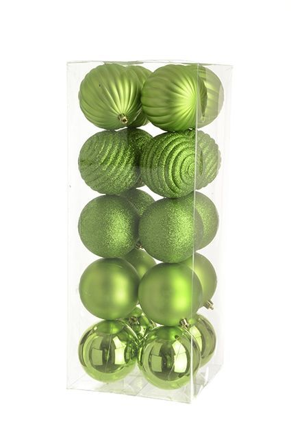 8cm Shatterproof Baubles x 20 Lime - See Additional Info