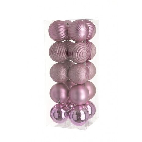8cm Shatterproof Baubles x 20 Rose - See Additional Info