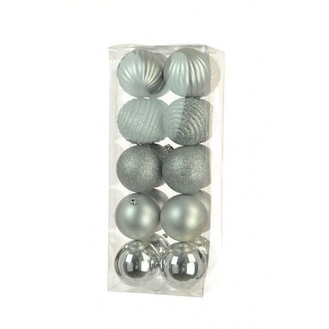 8cm Shatterproof Baubles x 20 Silver - See Additional Info
