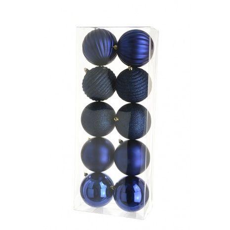 10cm Shatterproof Baubles x 10 Dark Blue - See Additional Info