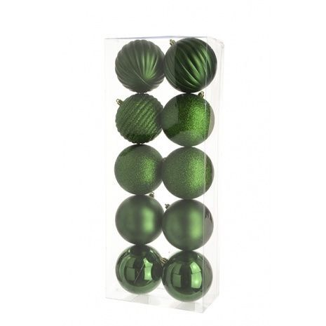 10cm Shatterproof Baubles x 10 Forest - See Additional Info