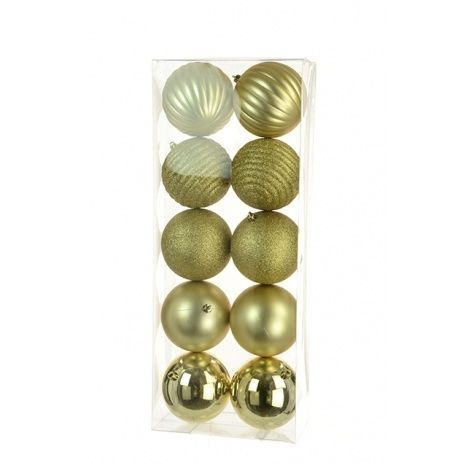 10cm Shatterproof Baubles x 10 Gold - See Additional Info