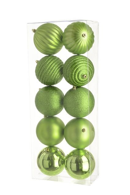 10cm Shatterproof Baubles x 10 Lime - See Additional Info
