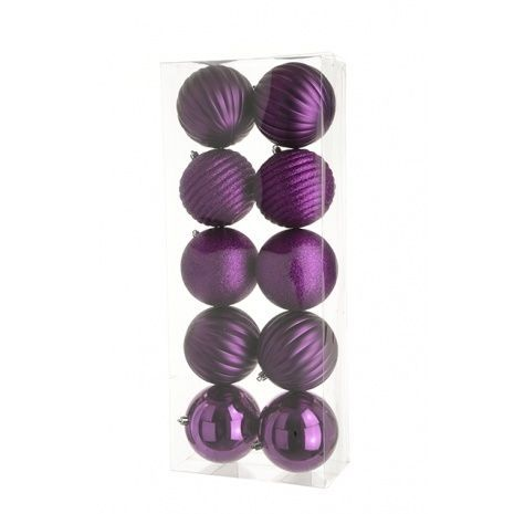 10cm Shatterproof Baubles x 10 Magenta - See Additional Info