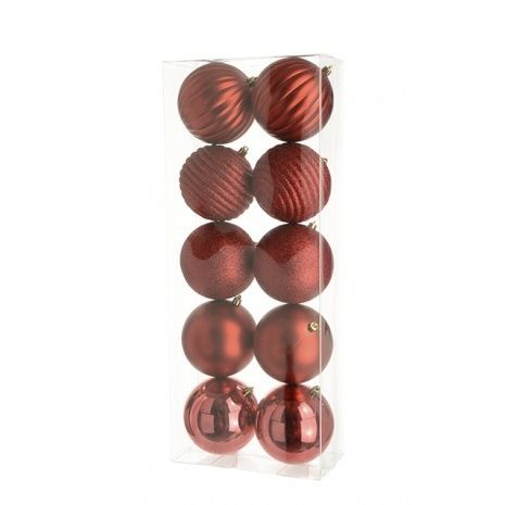 10cm Shatterproof Baubles x 10 Red - See Additional Info