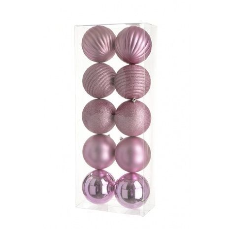 10cm Shatterproof Baubles x 10 Rose - See Additional Info