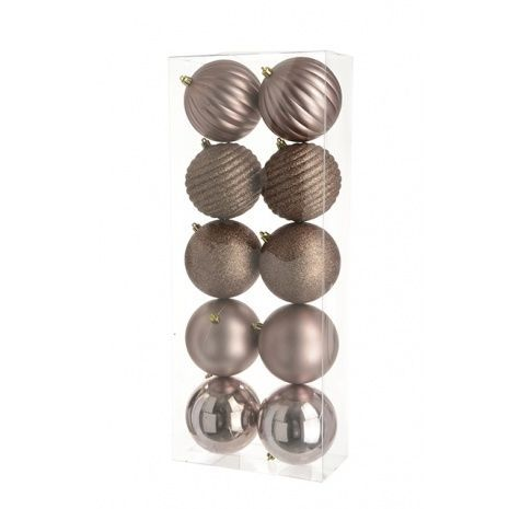 10cm Shatterproof Baubles x 10 Rose Gold - See Additional Info