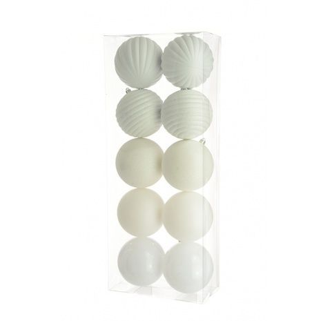 10cm Shatterproof Baubles x 10 White - See Additional Info
