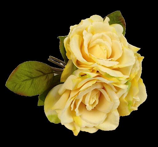 24cm Yellow Open Rose Posy