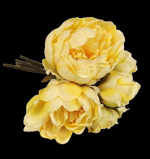 28cm Yellow Peony Posy