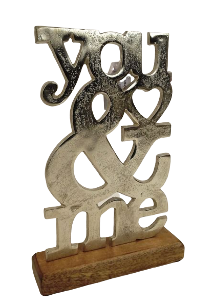 Aluminium You & Me On Wooden Base